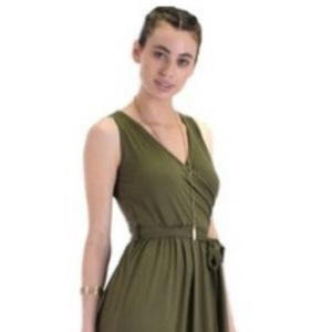 Dresses & Skirts - Wrap Maxi Dress Sleeveless Olive Green Size Large